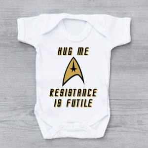 Hug Me Resistance Is Futile Funny Star Trek Unisex Baby Grow Bodysuit