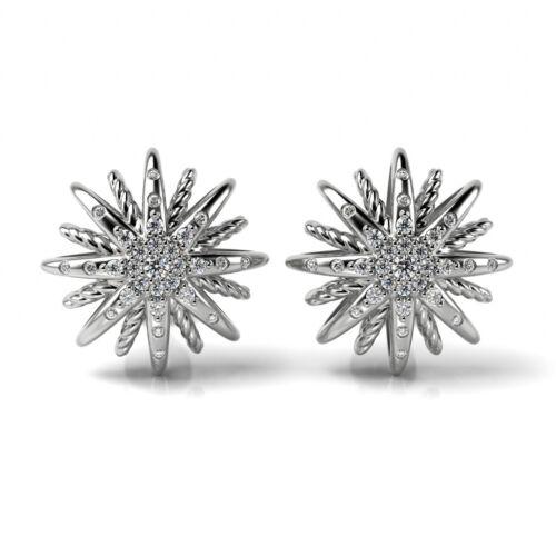 Designer Inspired 925 Sterling Silver Starburst Stud Earrings