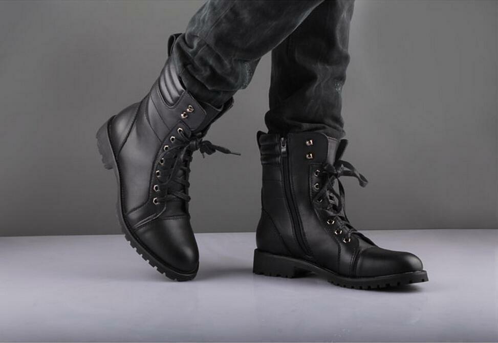 Homme Fait à la main Bottes Noir Style Militaire Combat Winter Lace Up Formal Wear Chaussures