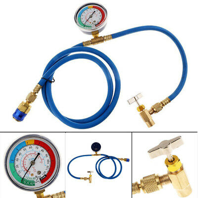 "26/"" R134a AC HVAC ReCharge Measuring Refrigerant Hose Can Tap w// Gauge System"