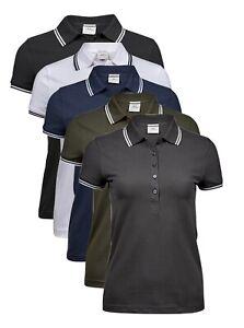 Womans-Ladies-BLUE-GREEN-GREY-Luxury-Stretch-Cotton-Stripe-Mini-Pique-Polo-Shirt