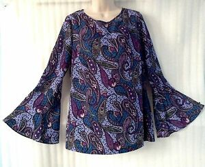 Eci-N-Y-Women-Purple-Blue-Paisley-Blouse-size-12-14-L-New-Peasant-Shirt-Boho-Top