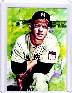 2021 Mickey Mantle Yankees Baseball 1/1 ACEO Fine Art Print Card By:Q