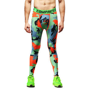 b2cc5b6cae Details about Men's Skinny Compression Layer Pants Tights Workout Jogger  Camo Tracksuit