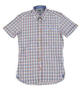 Ted-Baker-Rojo-Blanco-y-Azul-Cuadros-Manga-Corta-Camisa-Slim-Talla-1-Hombre-XS