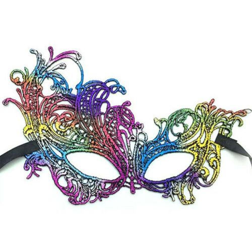 Stunning Rainbow Venetian Masquerade Party Evening Fancy Dress Lace Eye Mask