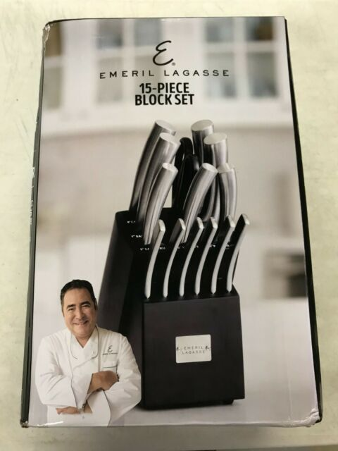 Emeril Lagasse 15-Piece Kitchen Knife Block Set (Black) - NEW - Damaged Box