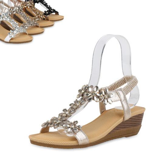 Damen Sandaletten Keilsandaletten Strass Blumen T-Strap Schuhe 821660 Top