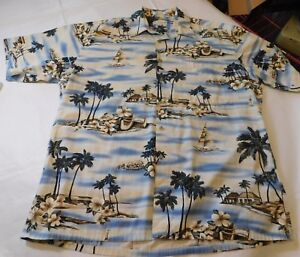 Mens-Pierre-Cardin-L-large-Hawaiian-button-up-shirt-cotton-Tropical-EUC-SS