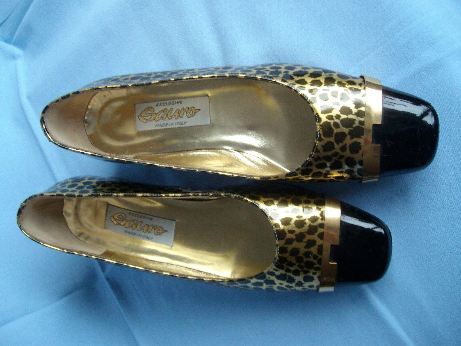 Damenschuhe - Pumps - - Sauro - - Größe 37 - Lackschuhe schwarz mit Tigerdesign b53410