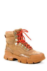 Villa Rouge Womens Suede Lace Up Gem Ankle Hiking Boots Cognac Brown Size 7.5