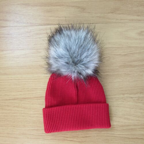 AW18 BABY FUR POM HAT RIBBED BY KINDER BOUTIQUE BEIGEG RED PINK 0-12 MONTH