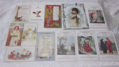 12 PC LOT INSPIRATIONAL RELIGIOUS BIBLE TRADE CARDS SUNRAYS LITHOS SCRAPS