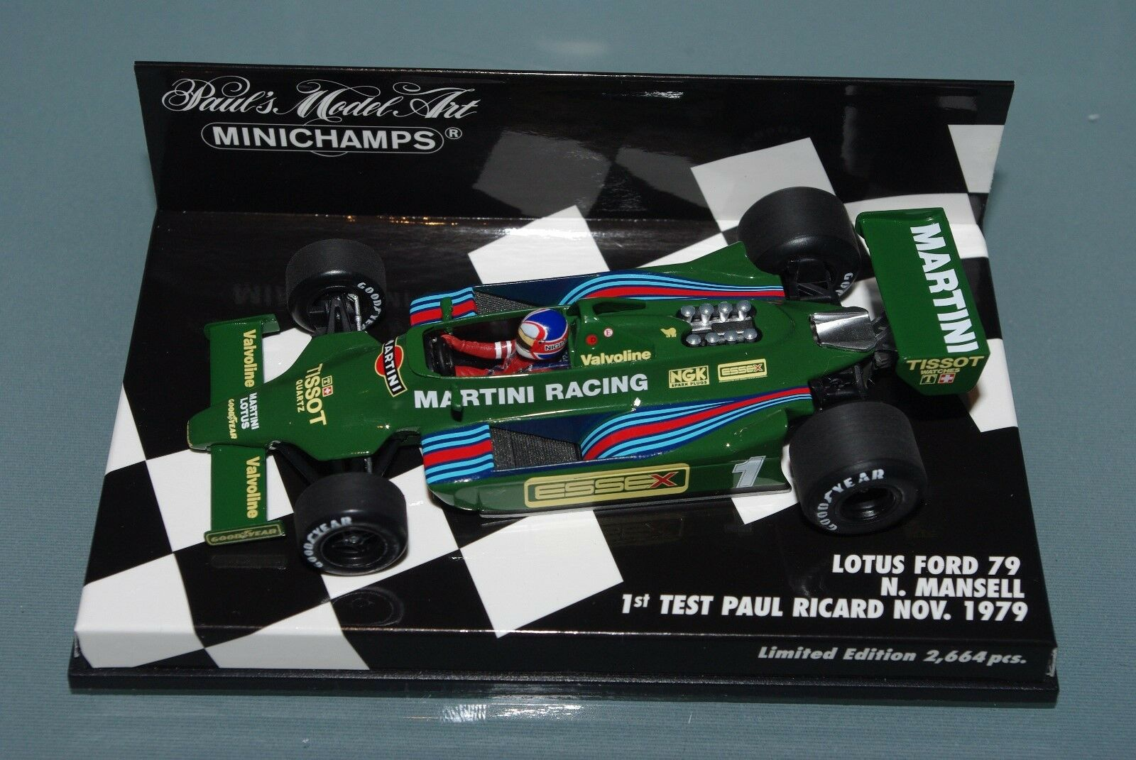 Minichamps 1/43 F1 LOTUS FORD 79 Martini Nigel Mansell 1st test PAUL RICARD 1979