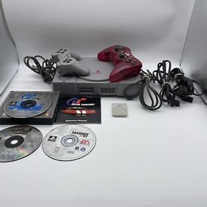 Sony Ps1 SCPH-9001 Console System Bundle 2 Controllers, Memory Card, Wires,games