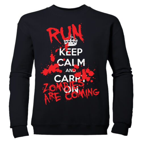 KEEP CALM AND CARRY ON  RUN ZOMBIES BOYS HALLOWEEN CHILDRENS SWEATSHIRT JUMPER