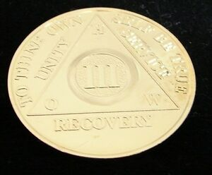 Alcoholics Anonymous 24K Gold Plated 3 Year Medallion Chip Coin Token Sobriety