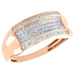 Mens 10k Rose Gold Diamond Wedding Band