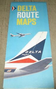 1962 DELTA  AIRLINES Route Maps - USA - Caribbean Routes - Great Graphics
