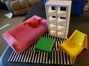 Awe Inspiring Details About Ikea Dollhouse Furniture Living Room Set Of 6 Pieces Couch Chair Rug Shelf Table Theyellowbook Wood Chair Design Ideas Theyellowbookinfo