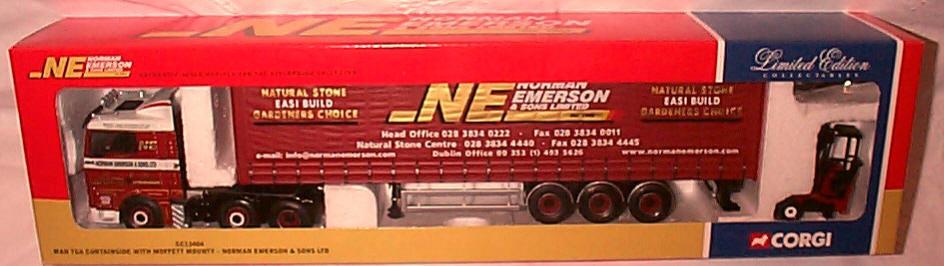 MAN TGA Curtainside avec Moffett Mounty Emerson CC13404 1-50 NEW IN BOX LTD ED