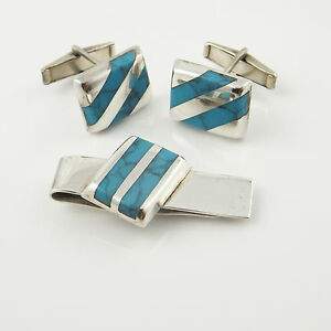 5a82c2c366aa Old Pawn Turquoise Tie Clip Clasp Bar Cuff Links Cufflinks Set ...