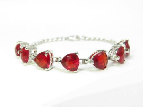 13.0ct Checkerboard-Cut Trillion Ruby Red Helenite 8mm Sterling Silver Bracelet