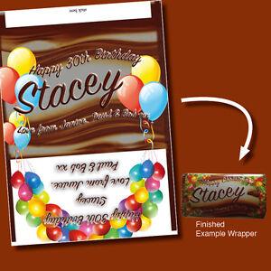 Globos Personalizados Barra de chocolate se ajusta Galaxy Feliz Cumpleaños presente Envoltura  </span>