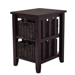side end coffee table stand wooden storage 2 baskets furniture espresso new ebay. Black Bedroom Furniture Sets. Home Design Ideas