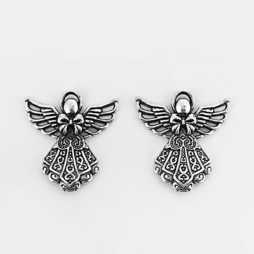 10Pcs Antique Silver Fairy Angel Bowknot Charms Pendant Jewelry Findings 41*39mm
