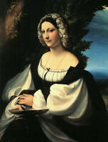 Art Print On Silk - Renaissance Woman In Black Dress Holding Tray - Fiber Arts