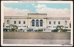 DETROIT-MI-Art-Institute-Vtg-Cars-Michigan-WB-Postcard