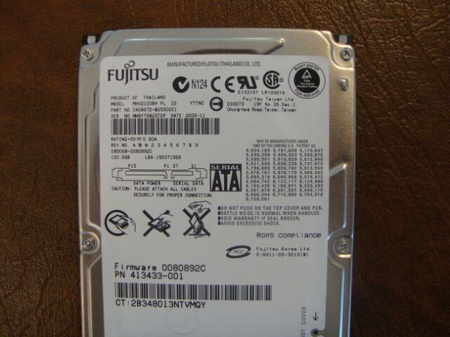 "Fujitsu MHV2100BH Pl (CA06672-B25500C1) 0080892C 100gb 2.5"" SATA Disco Duro"