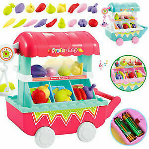 Girls-DIY-Role-Play-Toys-Music-Fruits-Vegetables-Cart-Candy-Shop-Trolley-HOT-5