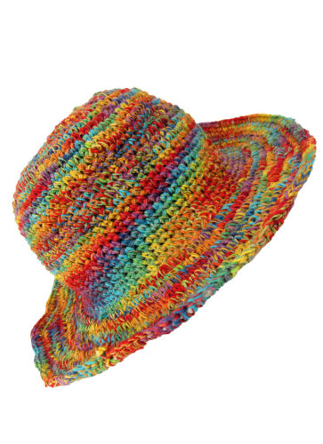 New Hemp and Cotton Wire Rim Rainbow Festival Hat