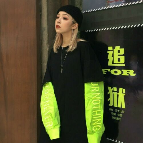 Damen Sweatshirt Top Locker Falsche Zweiteilig Pullover Harajuku Baggy Stickerei