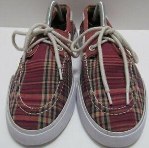 d8df6b26f1f8 Polo Ralph Lauren Lander Boat Shoes Madras Plaid Mens Size 8 8D Deck ...