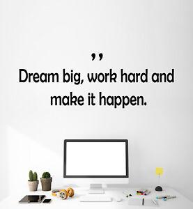 Work Hard Dream Big Car Decal Vehicle Boat Inpirationa Sticker Inspiration Quote