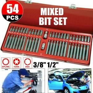 54Pcs-Hex-Star-Torx-Spline-Socket-Bit-Set-Kit-Garage-Tools-Equipment-3-8-034-1-2-034