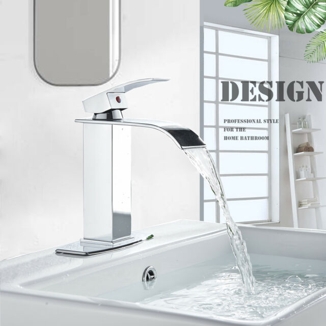Chrome Bathroom Basin Sink Faucet Single Hole Mixer Tap Deck Mount W//Cover