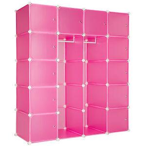 XXL-Steckregal-Schrank-Kunststoff-Garderobe-Kleiderschrank-DIY-147x47x183cm-pink