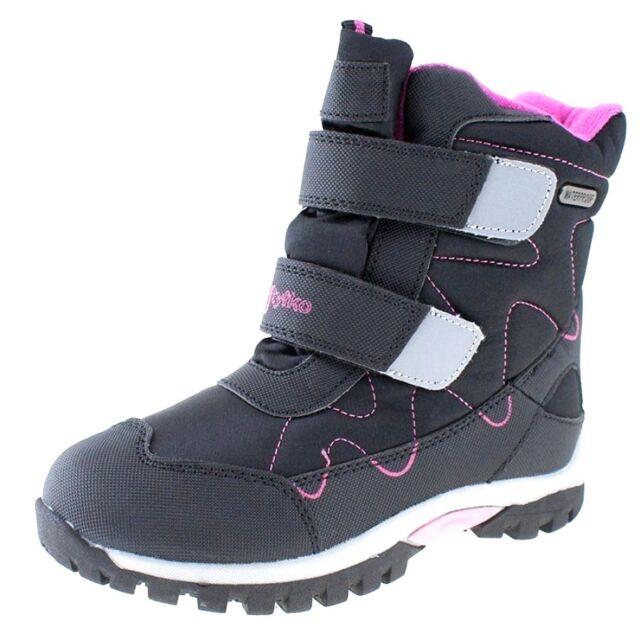d1d5e4ab6a86 Girls Waterproof Snow BOOTS Fleece Warm Thermal Walk Shoes Black ...