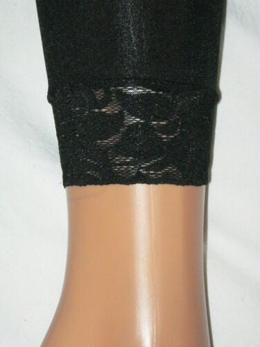 Black Footless Tights Lace Trim 8-12 Ladies S//M 40 den Semi Opaque