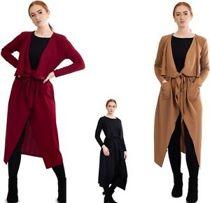 New Womens Ladies Maxi Long Sleeve Waterfall Pocket Belted Duster Coat Jacket