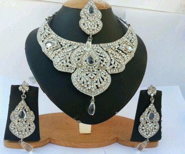 Orientalisch Schmuckset Halskette schwarz versilbert Stein Kette neu Silber