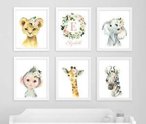 Pink-Floral-Jungle-Animals-Art-Custom-Monogram-Nursery-Prints-Set-of-6-621-A