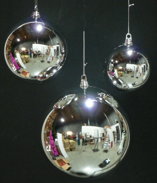 set of 4 4 shiny silver 100mm balls plastic christmas ball outdoor ornaments - Plastic Christmas Balls