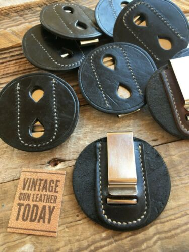 """Details about  /Alfonso/'s Round Black Leather Clip On Badge Holder 3 1//8/"""" Diameter 1 3//4/"""" Clip"""
