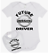 Baby romper suit one piece PLUS a baby bib FUTURE NISSAN DRIVER new cotton