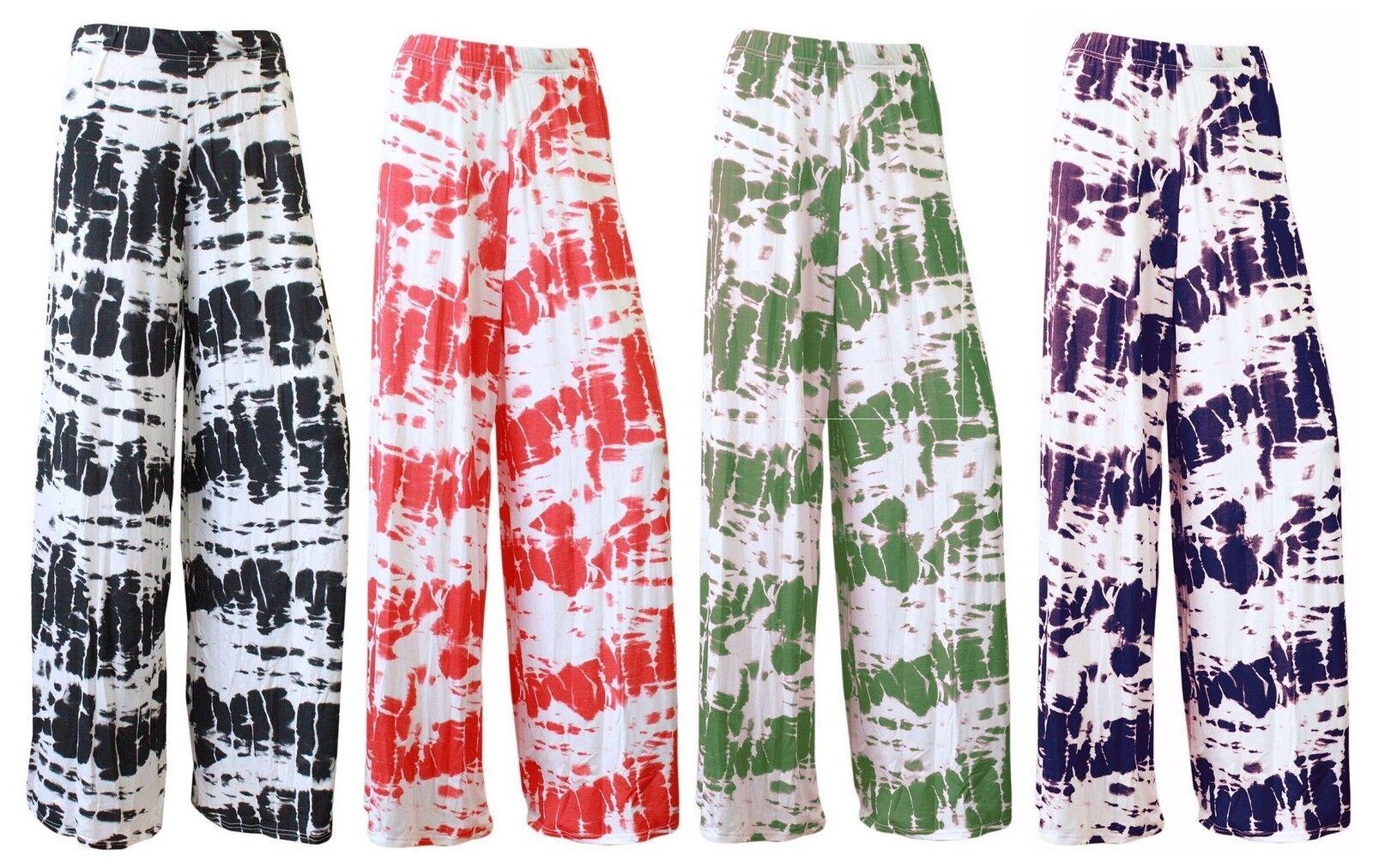 New Ladies Floral Printed Palazzo Tie Dye wide Leg Summer Womens Trouser Pant